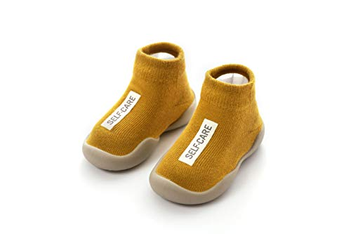 Danvi co. Baby Toddler Sock Shoes Stretch Knit Sneakers Kids Slippers Unisex (6-36 Months) (US 4, Ginger (Yellow))