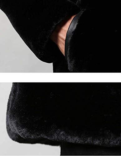 Hiver Hommes Chaud Manteau Fausse Fourrure Veste De Fourrure À Capuchon Capuchon De Fourrure De Parka Long Manteau Manches Vêtements De Plein Air,Noir,XXL