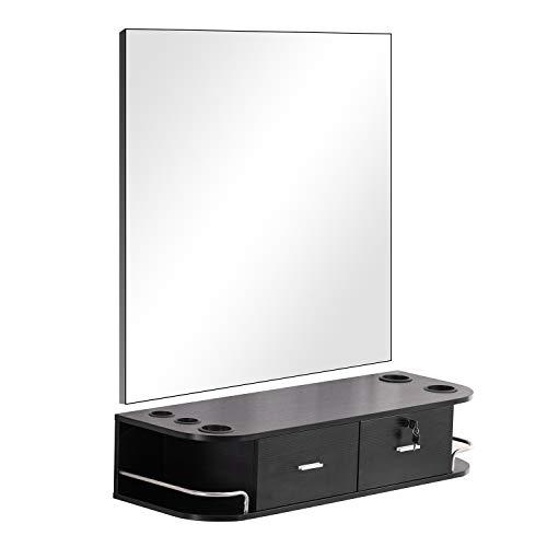 (Barberpub Locking Wall Mount Styling Barber Station w/mirror Beauty Spa Salon Furniture (Black))