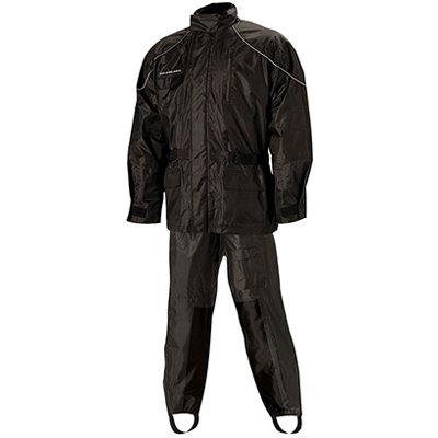 Nelson-Rigg AS-3000 Aston Men's 2-Piece Sports Bike Motorcycle Rain Suits - Black/Black / Large