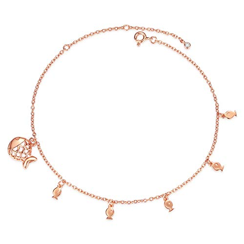 Ankle Bracelets for Women Silver Anklets Rose Gold 925 Sterling Beach Diamond Charms Foot Jewelry Handmade Girls Adjustable Link Fish Cross White Blue Crystal Crocodile Love Heart Key Anklets -