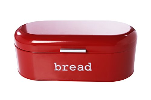 Large Bread Box for Kitchen Counter - Bread Bin Storage Container With Lid - Metal Vintage Retro Design for Loaves, Sliced Bread, Pastries, Red, 17 x 9 x 6 Inches