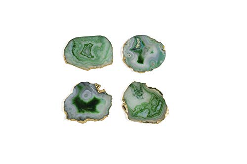 Shiraleah Home 19-10-002GR Set of 4 Agate Coaster Set, Green