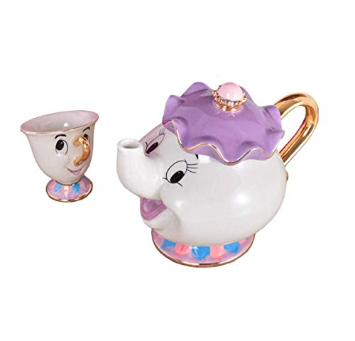 Beauty and The Beast Teapot Mug Mrs Potts Chip Tea Pot Cup Ceramic One Set Lovely Christmas -