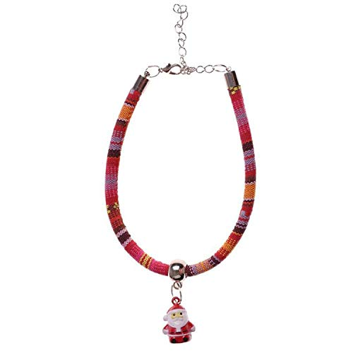 ZZmeet Christmas Santa Claus Bells Dog Necklace Collar for Small Medium Dogs Adjustable Neck Strap Pet Supplies,1,S