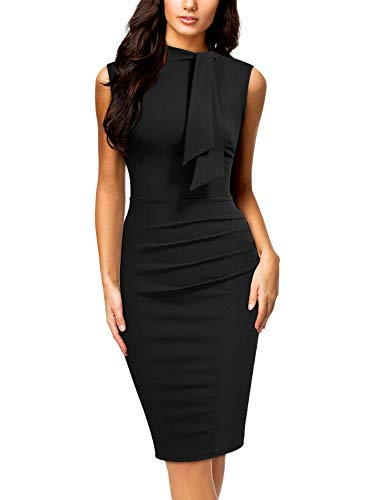 (Miusol Women's Retro 1950s Style Half Collar Ruffle Cocktail Pencil Dress,Small,C-Black)