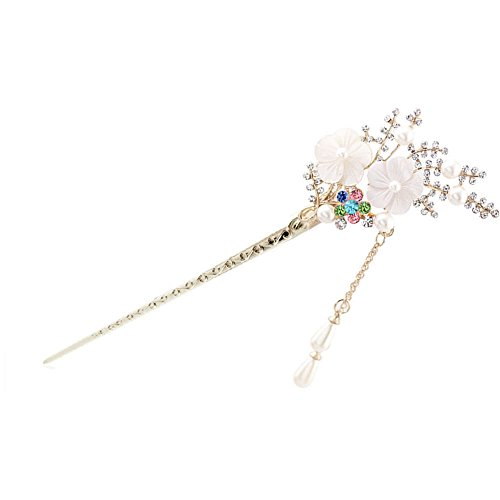 Happy Hours - Crystal Rhinestone Bead Hair Clasp For Women and Teen Girl / Natural Shell Alloy Flower Design Hair Pins Stick With Dangle Tassel Pendant(Style 2)