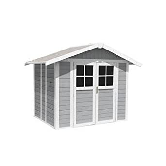 abri de jardin deco 49 de grosfillex gris clair 49 m2