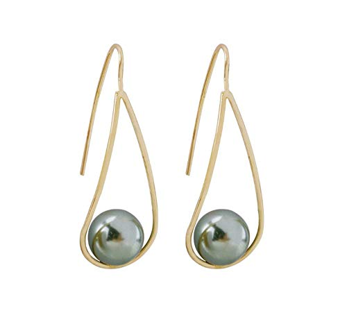 Rakumi Pearl Dangling Earrings Sterling Silver Seashell Pearl Dangle Earrings