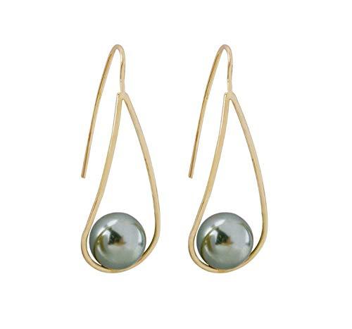 Rakumi Pearl Earrings Gold-plated Dyed-Grey Seashell Pearl Dangle Earrings