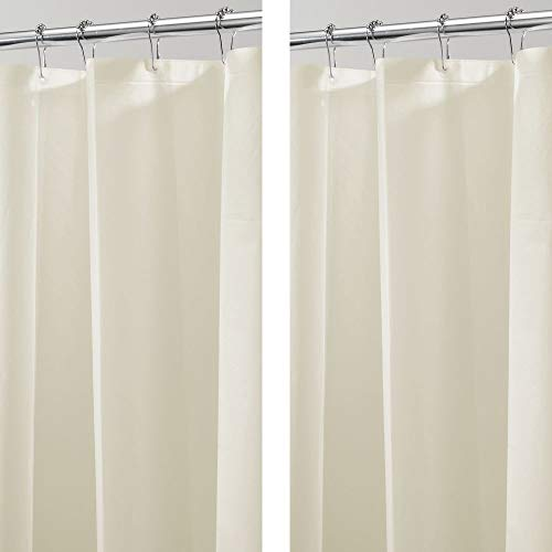 - mDesign Plastic, Waterproof, Mold/Mildew Resistant, Heavy Duty PEVA Shower Curtain Liner for Bathroom Showers and Bathtubs - No Odor - 3 Gauge, 72 inches x 72 inches - 2 Pack - Sand
