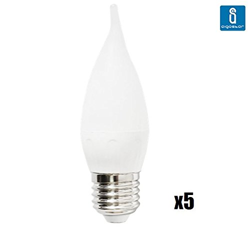 Pack de 5 Bombillas LED CL35 vela, 3W, casquillo gordo E27, 225 lumen, luz calida 3000K: Amazon.es: Iluminación