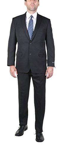 P&L Men's 2-Piece Modern Fit 2 Buttons Side Vent Suit Jacket Pleat Pants