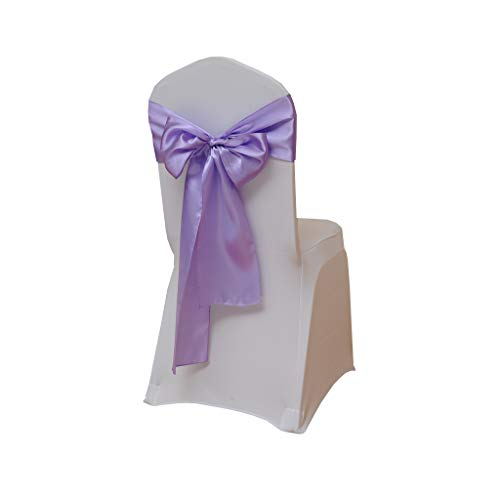 Fvstar 10pcs Lavender Satin Chair Sashes Wedding Chair Ribbons Party Chairs Cover Back Tie Bows for Events Supplies Baby Shower Christmas New Year Decorations Without White Covers