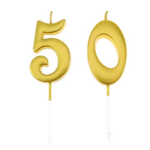 Happyyami 50 cumpleaños número de Velas decoración cumpleaños Pastel Topper Velas Suministros para Fiestas para Adultos (número 5 + 0)