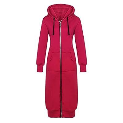 Kulywon Women's Winter Warm Jacket Solid ColorHooded Thicken Warm Slim Jacket Long Coat