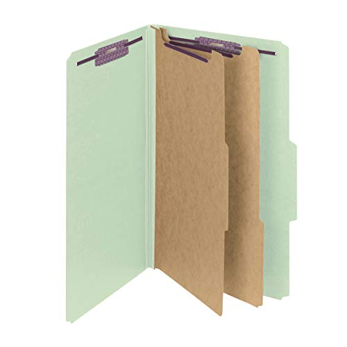 Smead Pressboard Classification File Folder with SafeSHIELD Fasteners, 2 Dividers, 2 Expansion, Legal Size, Gray/Green, 10 per Box (19076)