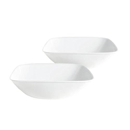 Corelle Square Bowl Bulk Pack Pure White (2 Pack), Pure White