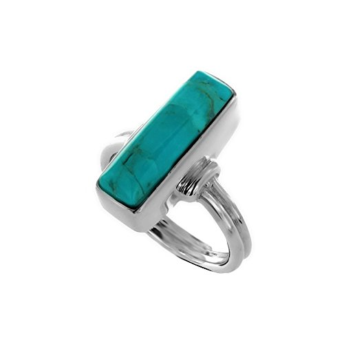 (Oxidized Sterling Silver Framed Blue Dyed Turquoise Rectangle Gemstone Statement Ring, Size 7)