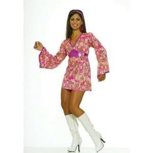 FLOWER POWER 60s 70s fancy dress HIPPY RETRO disco 8 10 (disfraz)