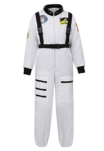 Grebrafan Astronaut Kids Halloween Costumes for Boys Girls Space Suit Childrens Cosplay Outfit (Large, White) -