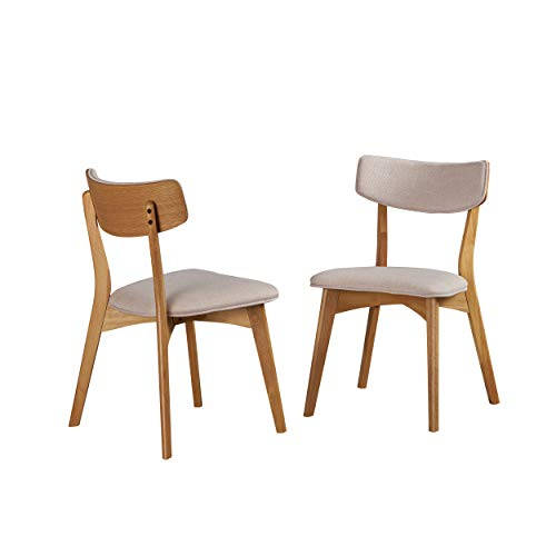 Christopher Knight Home 303367 Molly Mid Century Modern Light Beige Dining Chairs with Natural Oak Finished Rubberwood Frame (Set of 2),