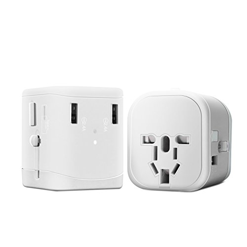 ZOEYI Travel Adapter USB Charger Multi-Purpose Outlet Type-C Charger Smartphone Charging for International Travel (B-C White) -