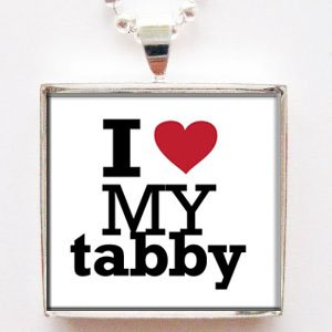 I Love Heart My Tabby Glass Tile Pendant Necklace with Chain (Tabby Tiles)