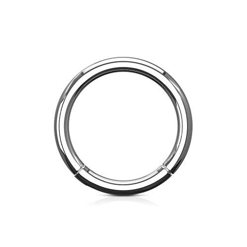 (MoBody Hinged Nose Hoop Clicker Surgical Steel Segment Ring Septum Helix Cartilage Lip Piercing Jewelry (14G (1.6mm), 1/2