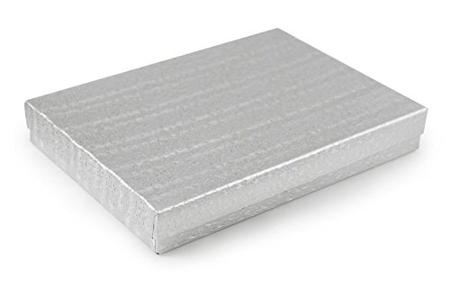 Silver Foil Cotton Filled Jewelry Box #75 (Pack of 10)