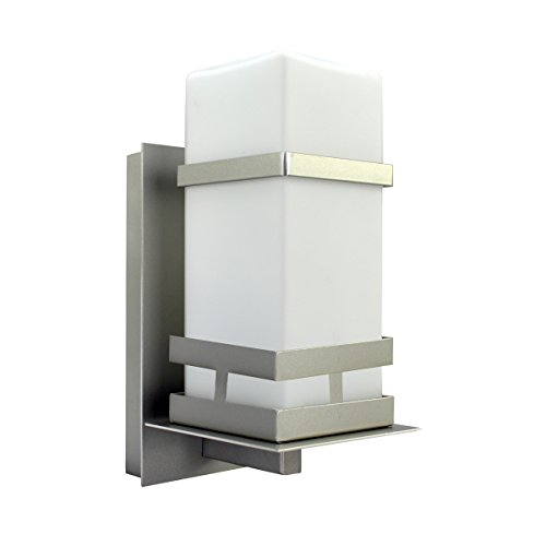 Mount Nickel Brush Wall - HomeSelects 6718 Exterior Wall Mount, Brushed Nickel with Opal Glass Shade, 6