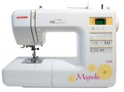 """Janome 7330 Magnolia Computerized Sewing Machine with 30 Built-In Stitches plus Ultra Glide Foot, Set of Assorted Size Universal Needles, and 1/4"""" Seam Foot."""