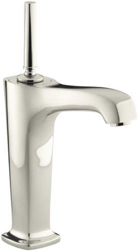 KOHLER K-16231-4-SN Margaux Tall Single Control Lavatory Faucet, Vibrant Polished Nickel (Single Nickel Margaux Handle)