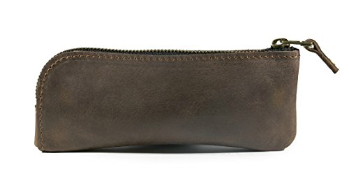 Leather eyeglass case, reading glass case, leather sunglass sleeve case (Brown) by InCarne