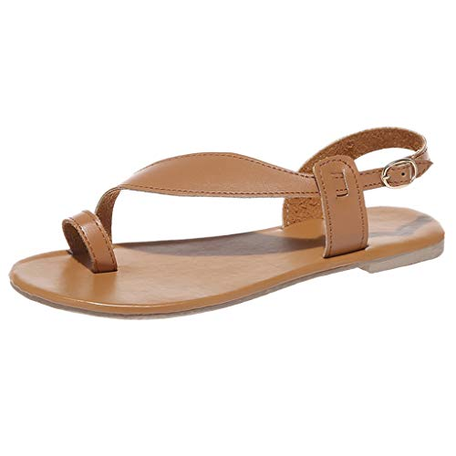 Sunhusing Women's Clip Toe Open Toe Flat Bohemian Sandals Holiday Casual Belt Buckle Buckle Soft Sole Sandals Brown