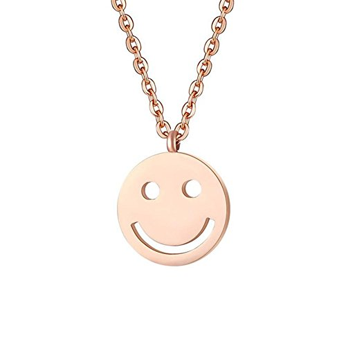 BEICHUANG Rose Gold Polishing Round Happy Smile Face Pendant Necklace Perfect Gift for Women Girls (rose - Face Girls Round
