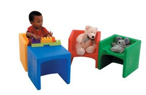 Cube Sized - Constructive Playthings Cube Chairs, Set of 4 with Two Different Seat Heights or Flip to Use as a Table for Ages 9 Month and Up
