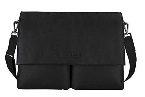 Police ARMED Genuine Leather Messenger Bag with Laptop Compartment for Men and Women (Black /Black) from Police