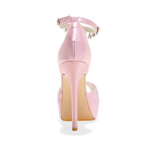 Pink Pl 21 Donna Con Sposa E L Pendenti 3128 Strass Raso Scarpe Seta In yc Da Plateau qFRwX0a