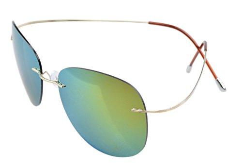 Eyekepper cerclees Titanium Cadre Style Aviateur Pilote lunettes de soleil polarisees Dore-bleu u24k4tNI8G