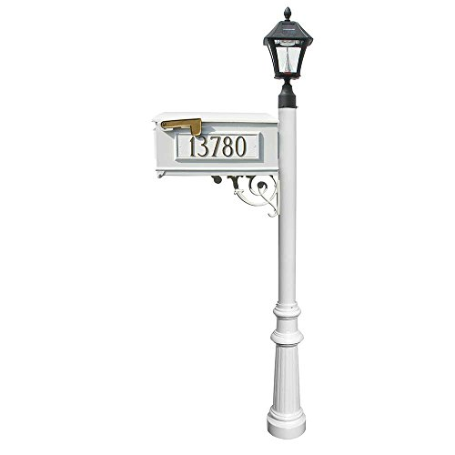 Mailbox w/Post Fluted Base & Solar Lamp, w/3 Address Plates, White (Bayview Solar Lamp)
