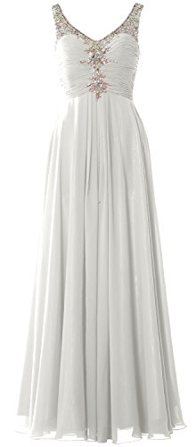 MACloth Women Long Prom Dress Crystals Chiffon V Neck Formal Party Evening Gown Marfil