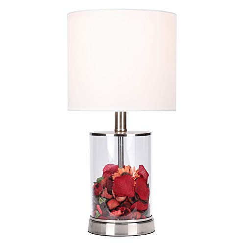 CO-Z Fillable Table Lamp with Clear Glass and Steel Base, 18'' Modern Desk Lamp, Accent Lamp, UL Certificate. (Base Modern Lamp)