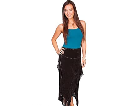 Scully Women's Leather Asymmetrical Fringe Suede Skirt at Amazon ...