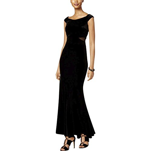 Xscape Womens Velvet Illusion Maxi Dress Black 6