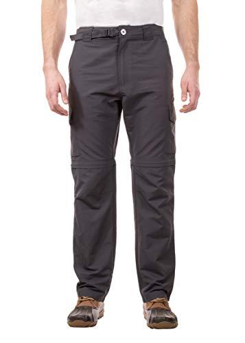 Swiss Alps Mens UPF 30+ Sun Protection Multi Pocket Convertible Pants, Dark Grey, 32/32
