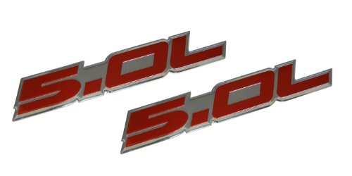 2 x (pair/set) 5.0L Emblems in Red on Highly Polished Aluminum Silver Chrome Engine Swap Badge for Ford Mustang GT F-150 Boss 302 Coyote Cobra GT500 V8 Crown Vic ()