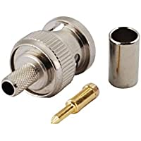 Eightwood 50 Ohm BNC Crimp Male Connector for RG58 RG400 LMR195 (Pack of 10)