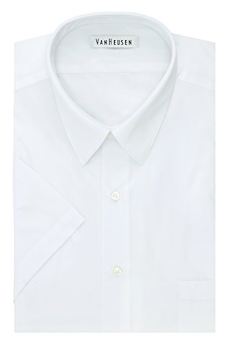 Van Heusen Men's Big and Tall Short Sleeve Poplin Solid Fit Dress Shirt, White, 19