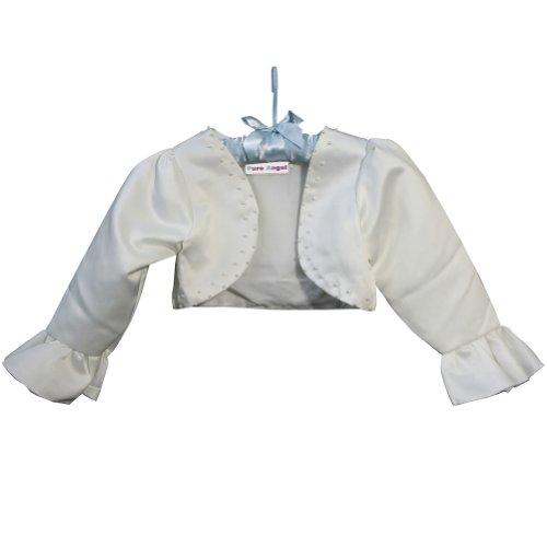 F&L Flower Girls' Long Sleeve Satin Bolero Jacket with Beadings Size 6 Ivory